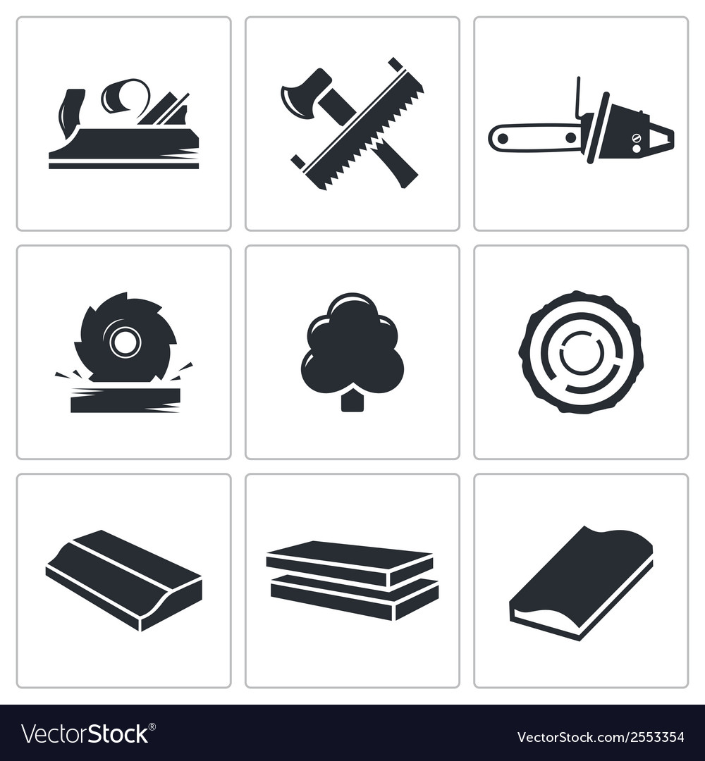 Woodworking icons set vector | Price: 1 Credit (USD $1)
