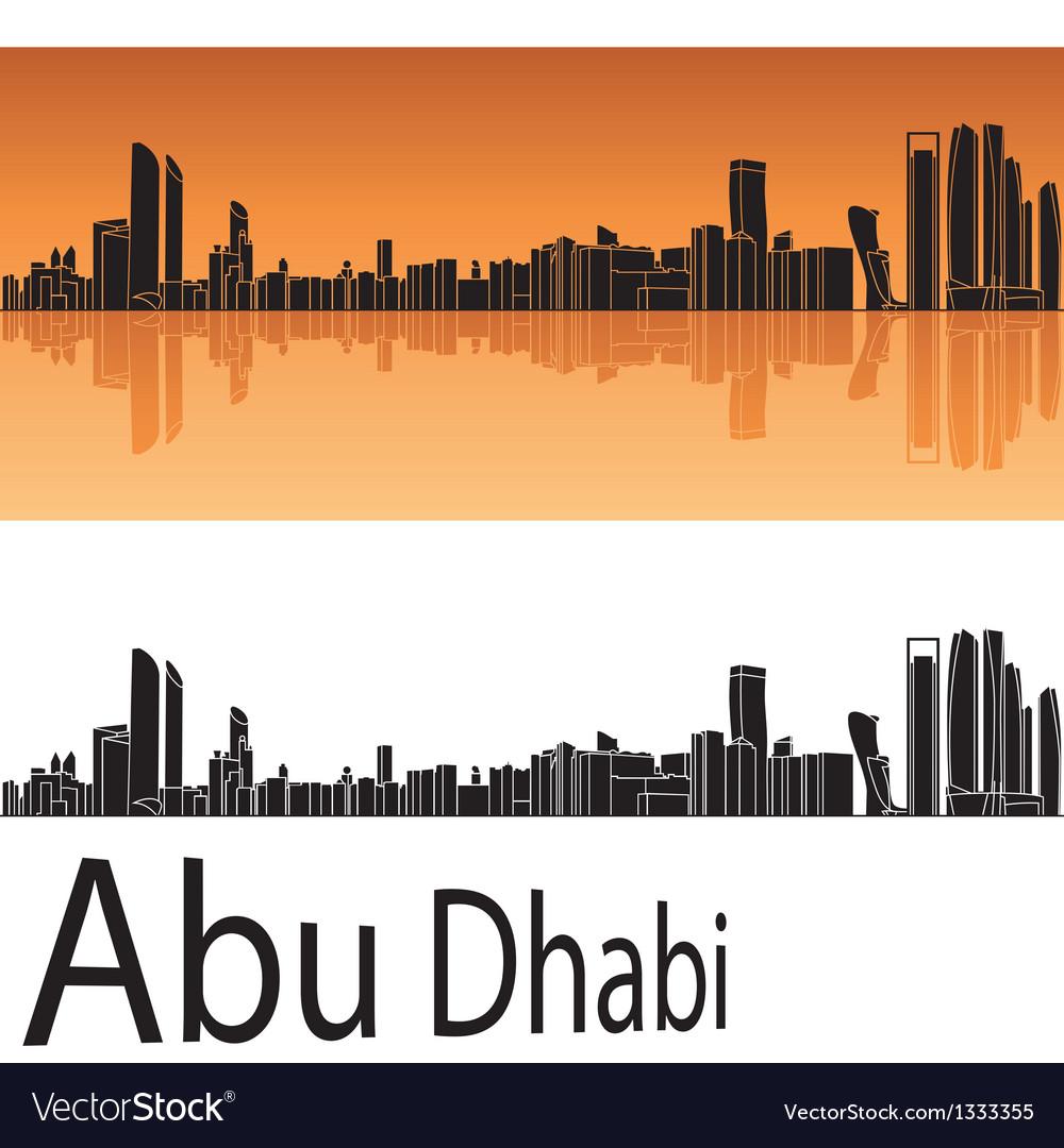 Abu dhabi skyline in orange background vector | Price: 1 Credit (USD $1)