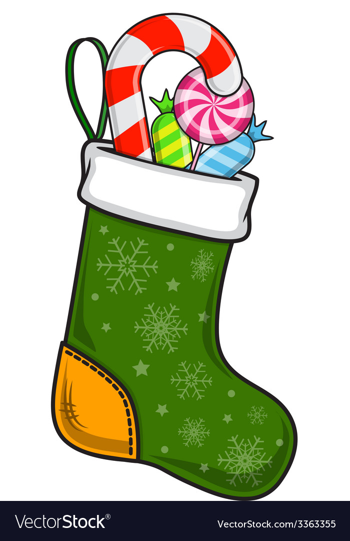Christmas and new year decorative sock with sweets vector | Price: 1 Credit (USD $1)
