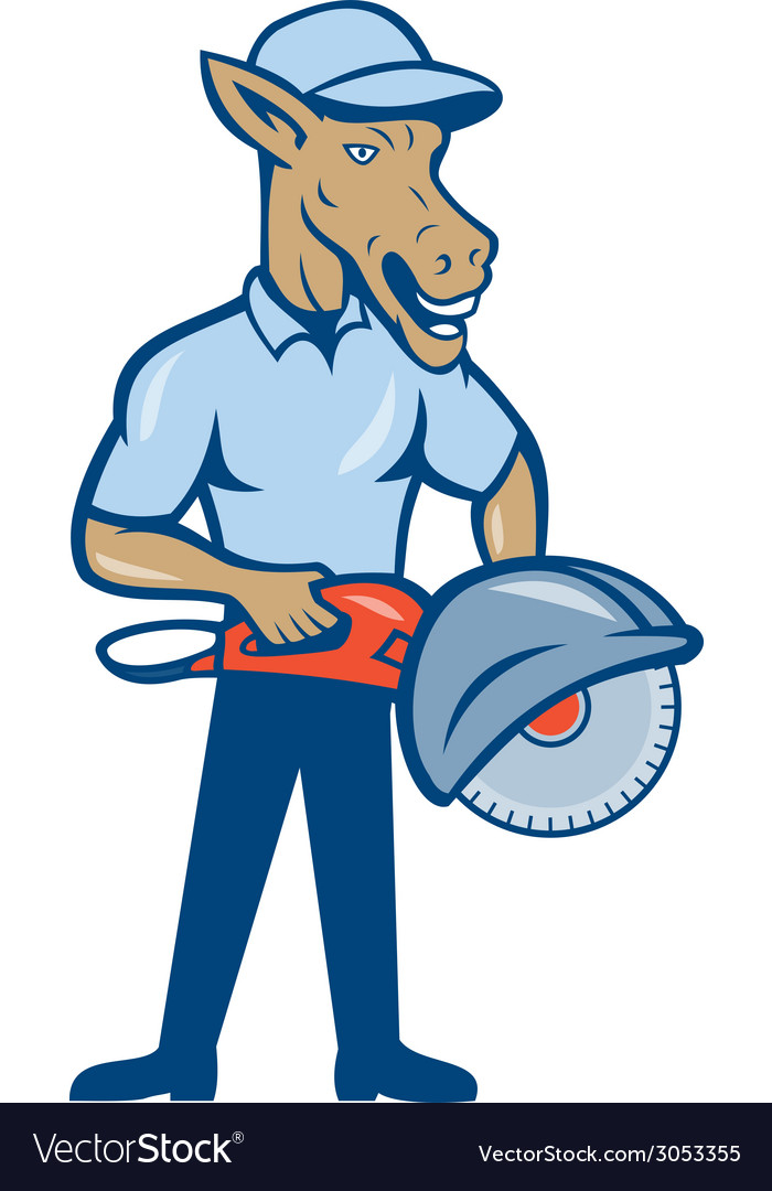 Donkey concrete saw consaw cartoon vector | Price: 1 Credit (USD $1)