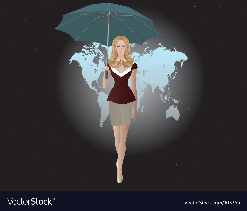 Girl and umbrella vector | Price: 3 Credit (USD $3)