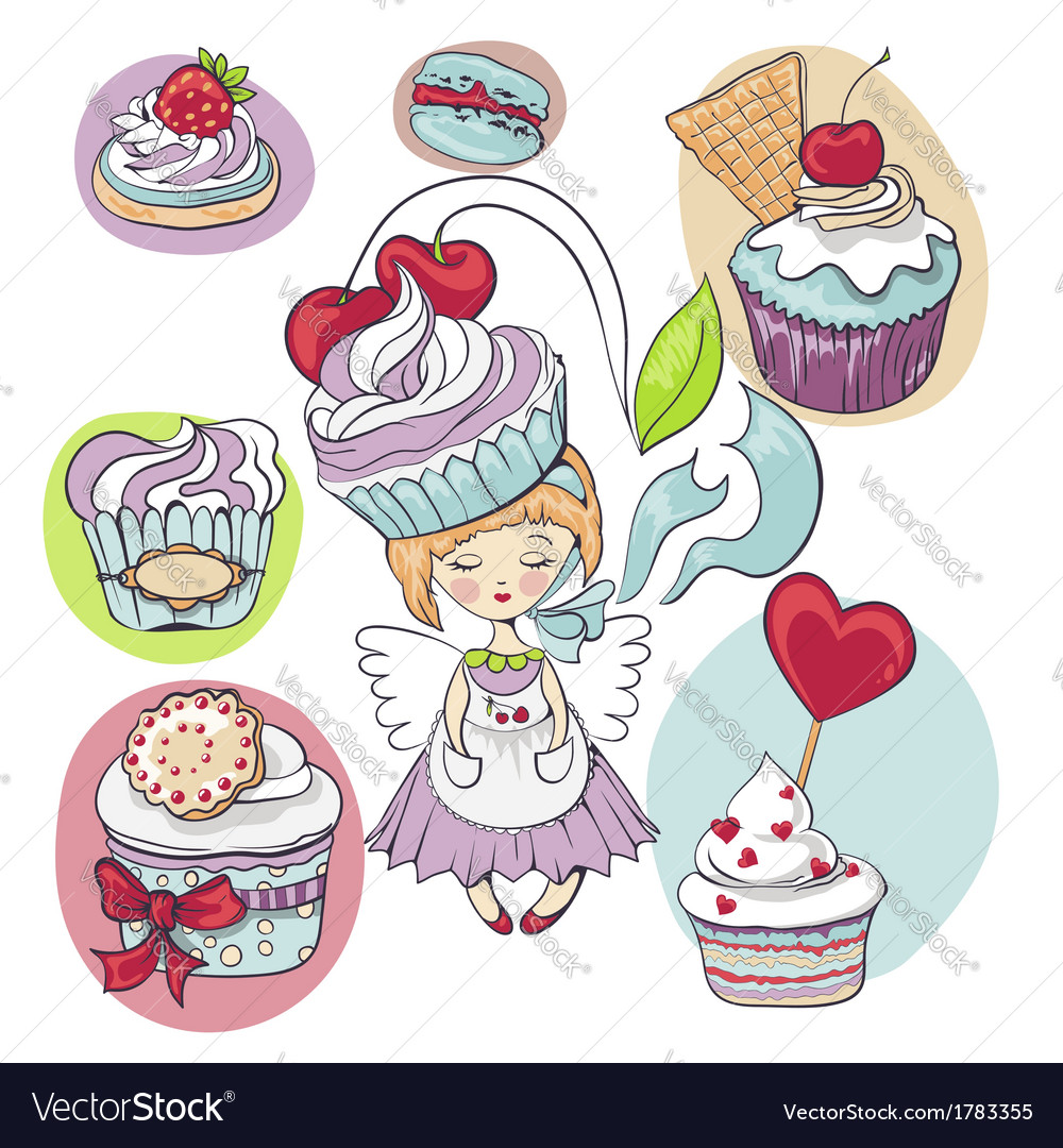 Girl with cake on her head isolated set of cupcake vector | Price: 1 Credit (USD $1)