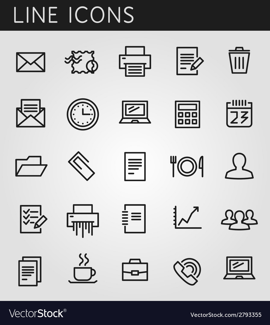 Line icons set technology media objects web design vector | Price: 1 Credit (USD $1)