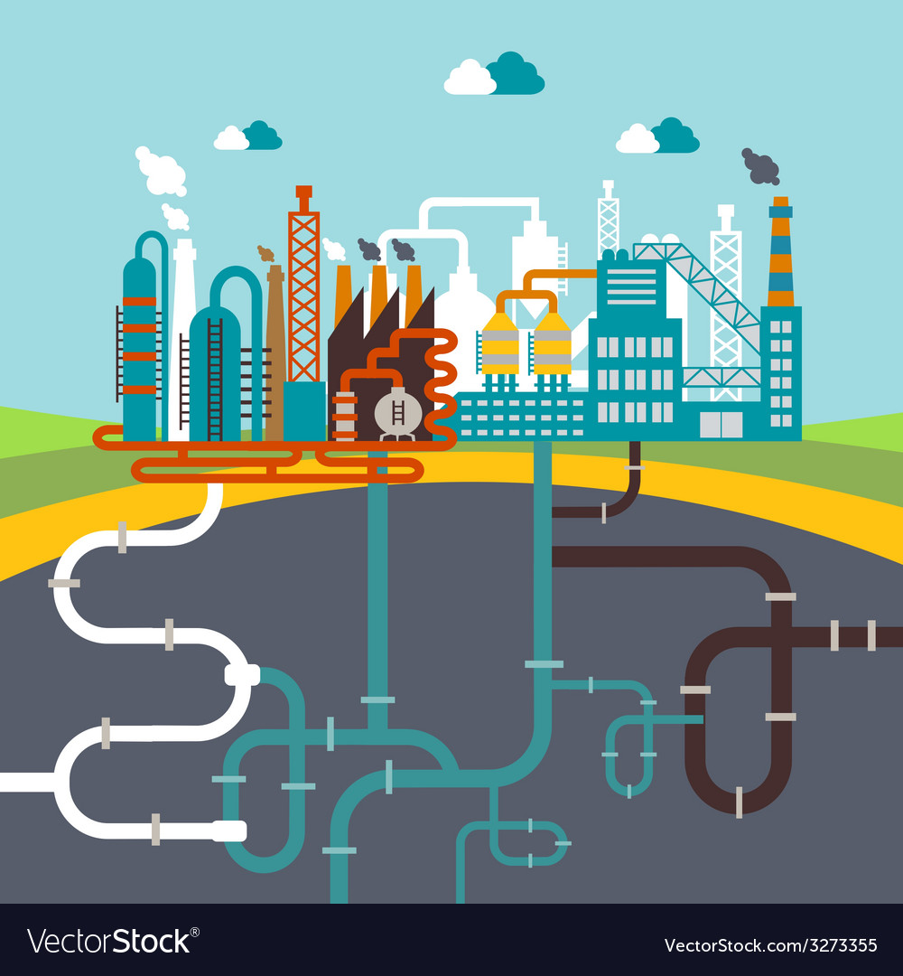 Manufacturing factory or refinery plant vector | Price: 1 Credit (USD $1)