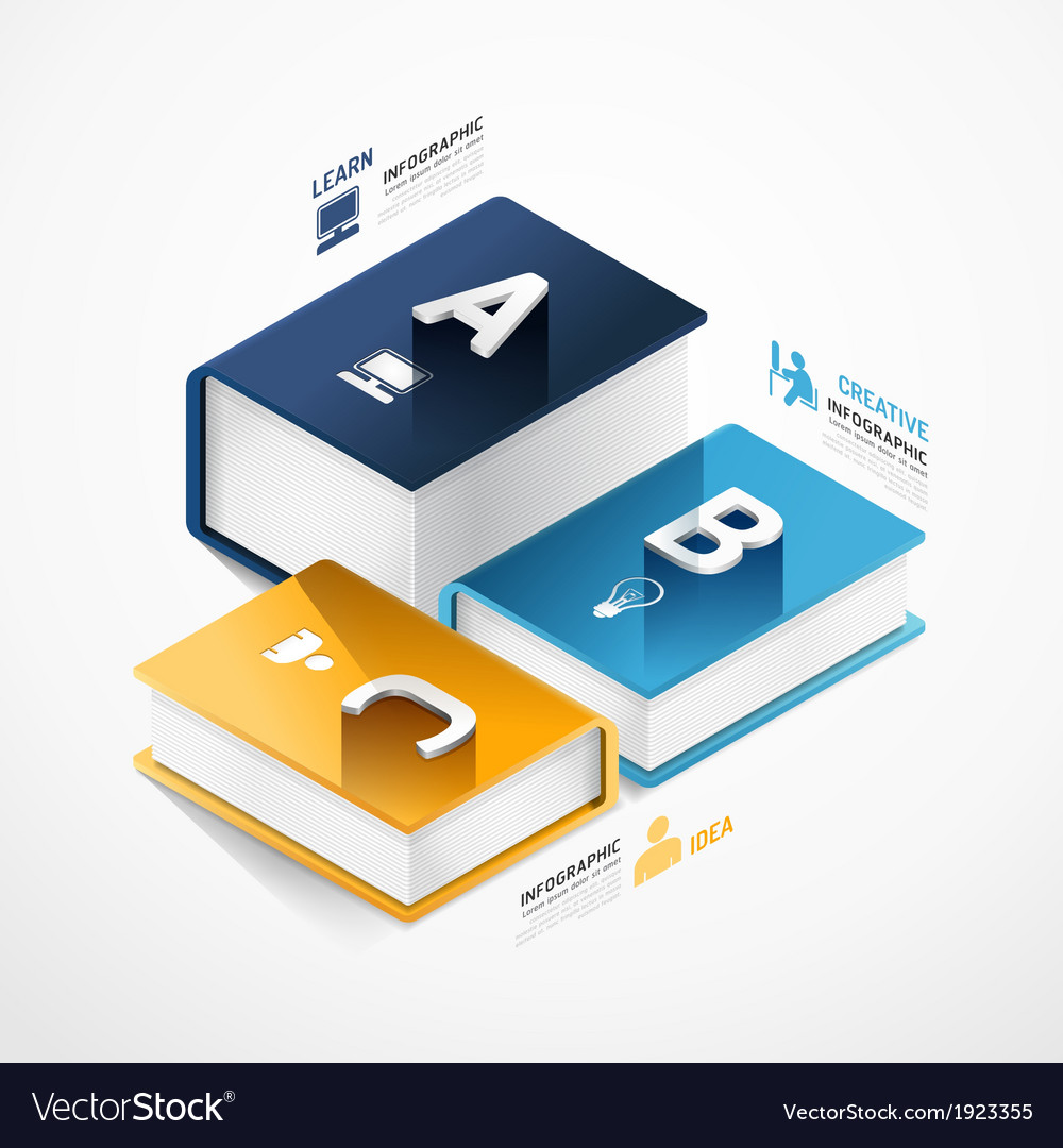 Modern infographic template with book banner vector | Price: 1 Credit (USD $1)