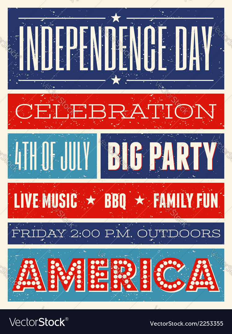 Retro style american independence day flyer design vector | Price: 1 Credit (USD $1)