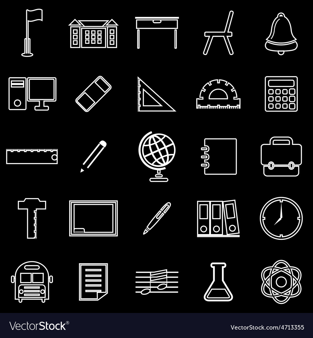 School line icons on black background vector | Price: 1 Credit (USD $1)