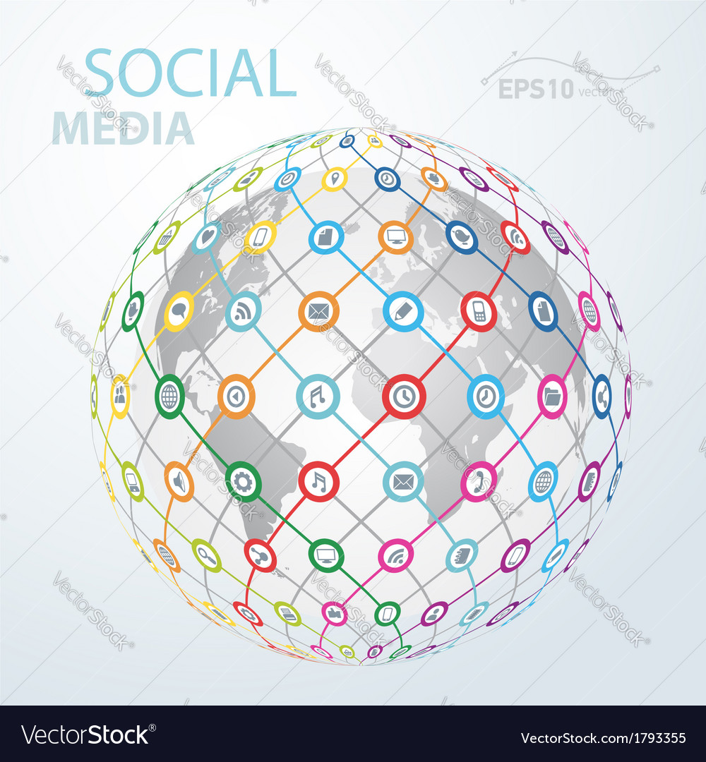Social media element icon globe worldwide vector | Price: 1 Credit (USD $1)