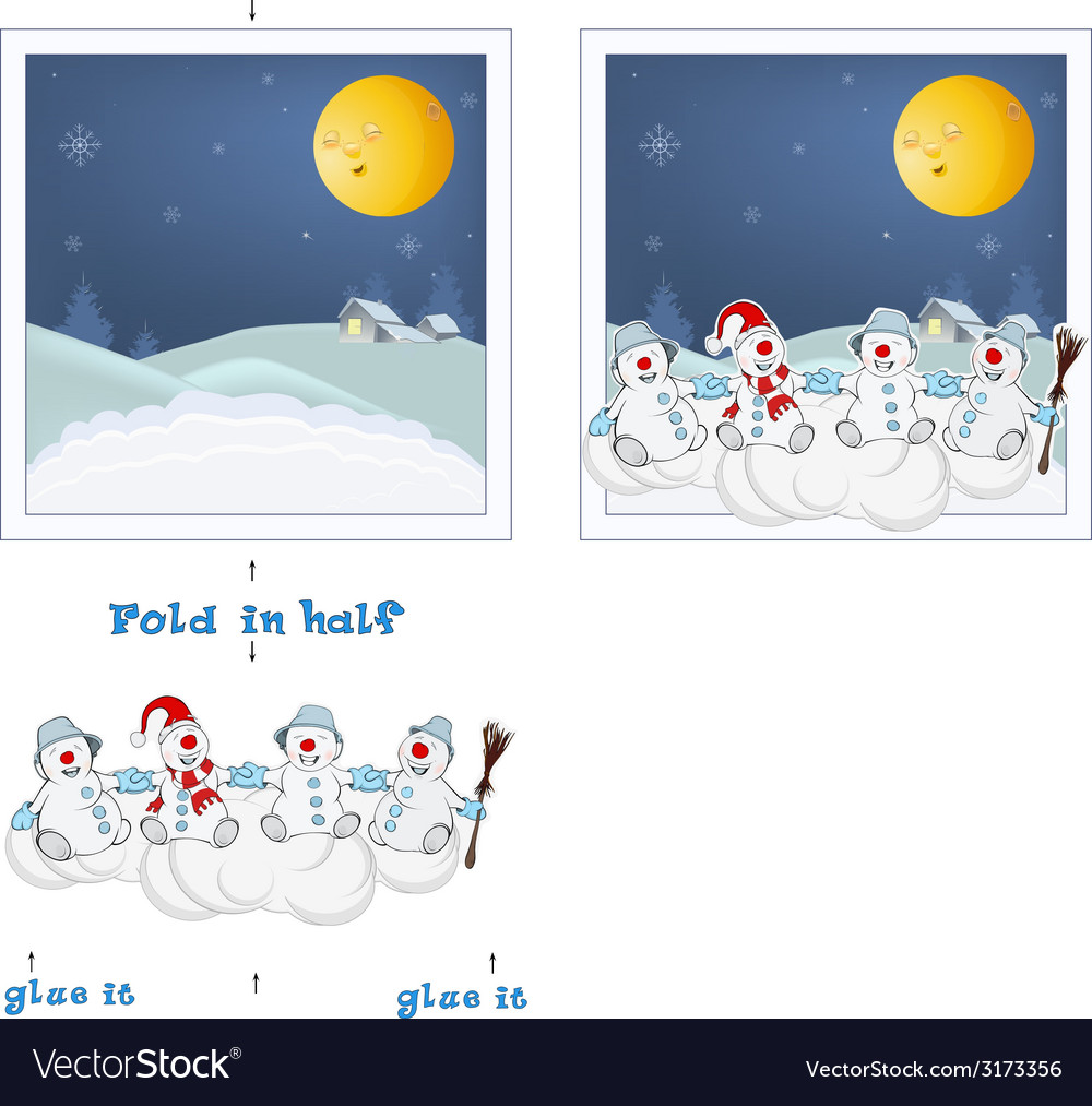 3d christmas post card christmas snowmen vector | Price: 1 Credit (USD $1)