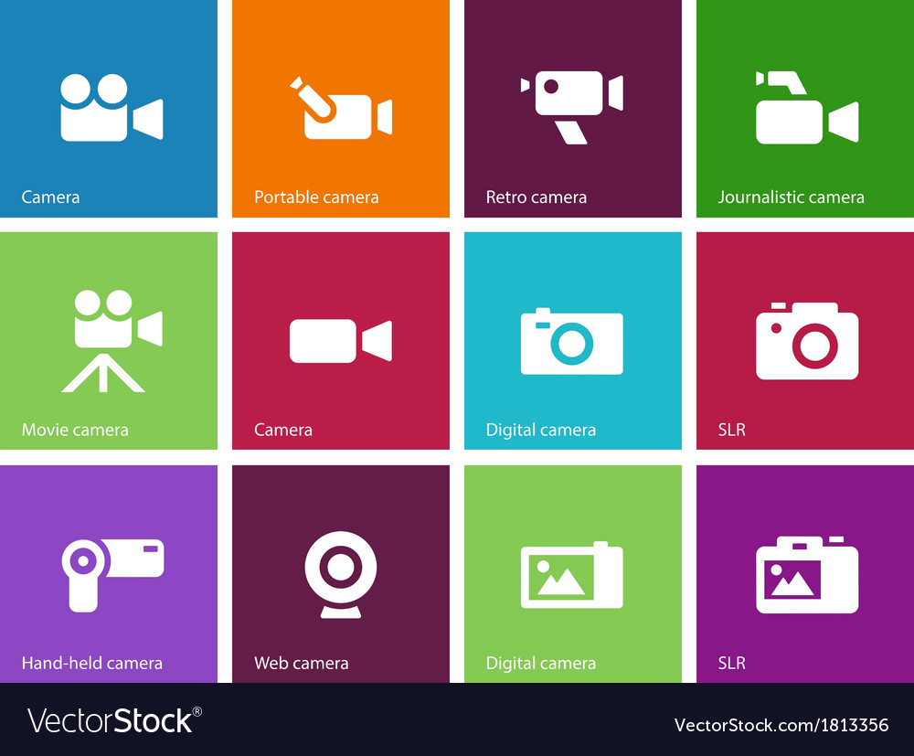 Camera icons on color background vector | Price: 1 Credit (USD $1)
