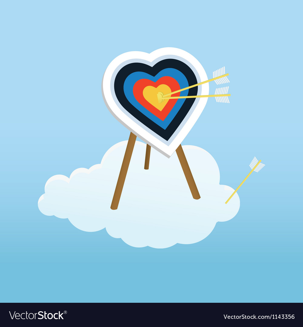 Cupid s training target standing on a cloud vector | Price: 1 Credit (USD $1)
