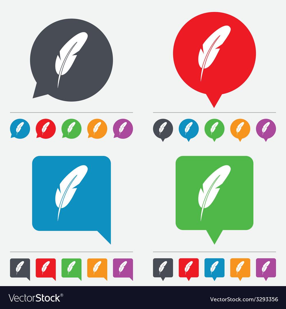 Feather sign icon retro pen symbol vector   Price: 1 Credit (USD $1)