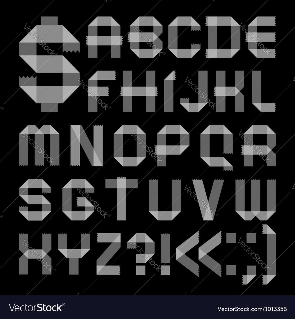 Font from scotch tape - roman alphabet vector | Price: 1 Credit (USD $1)