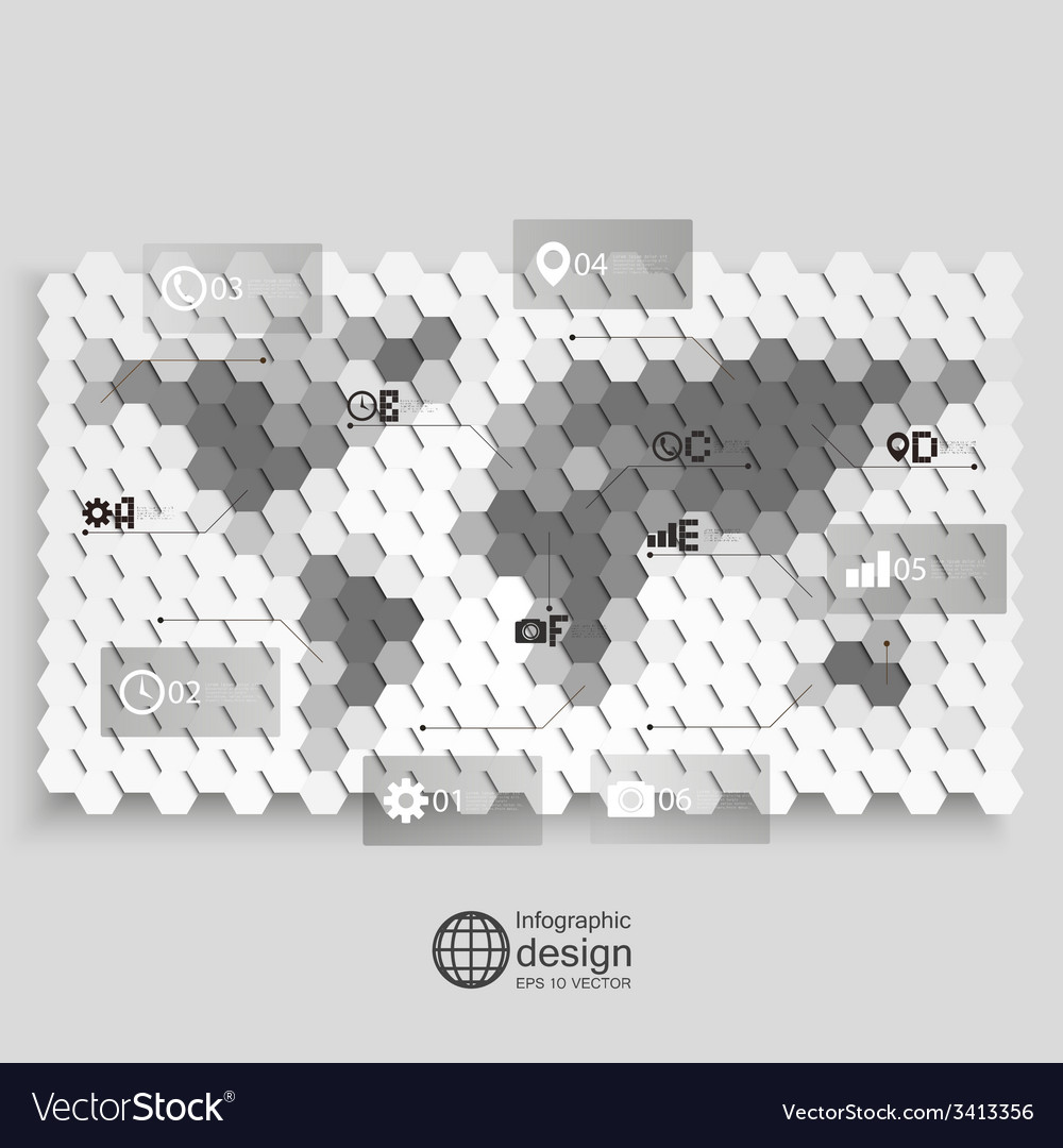 Infographic template for business design hexagonal vector | Price: 1 Credit (USD $1)