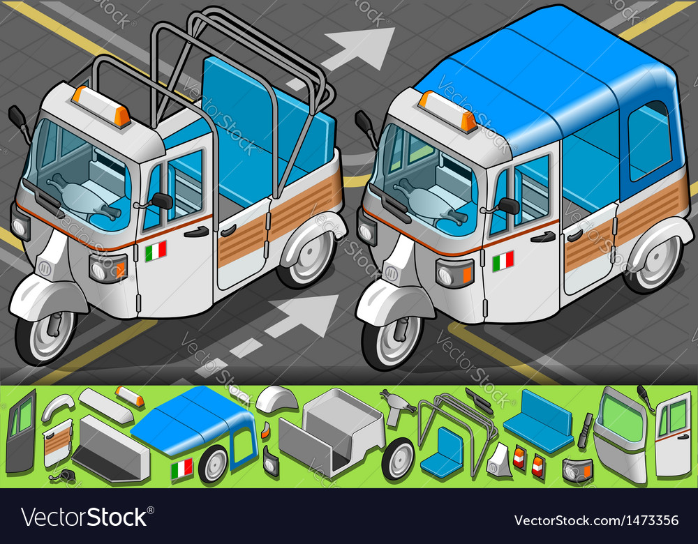 Isometric italian rickshaw in front view vector | Price: 1 Credit (USD $1)