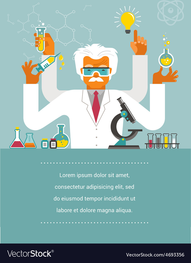Mad scientist - research bio technology vector | Price: 1 Credit (USD $1)