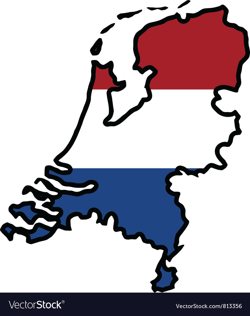 Map in colors of netherlands vector | Price: 1 Credit (USD $1)