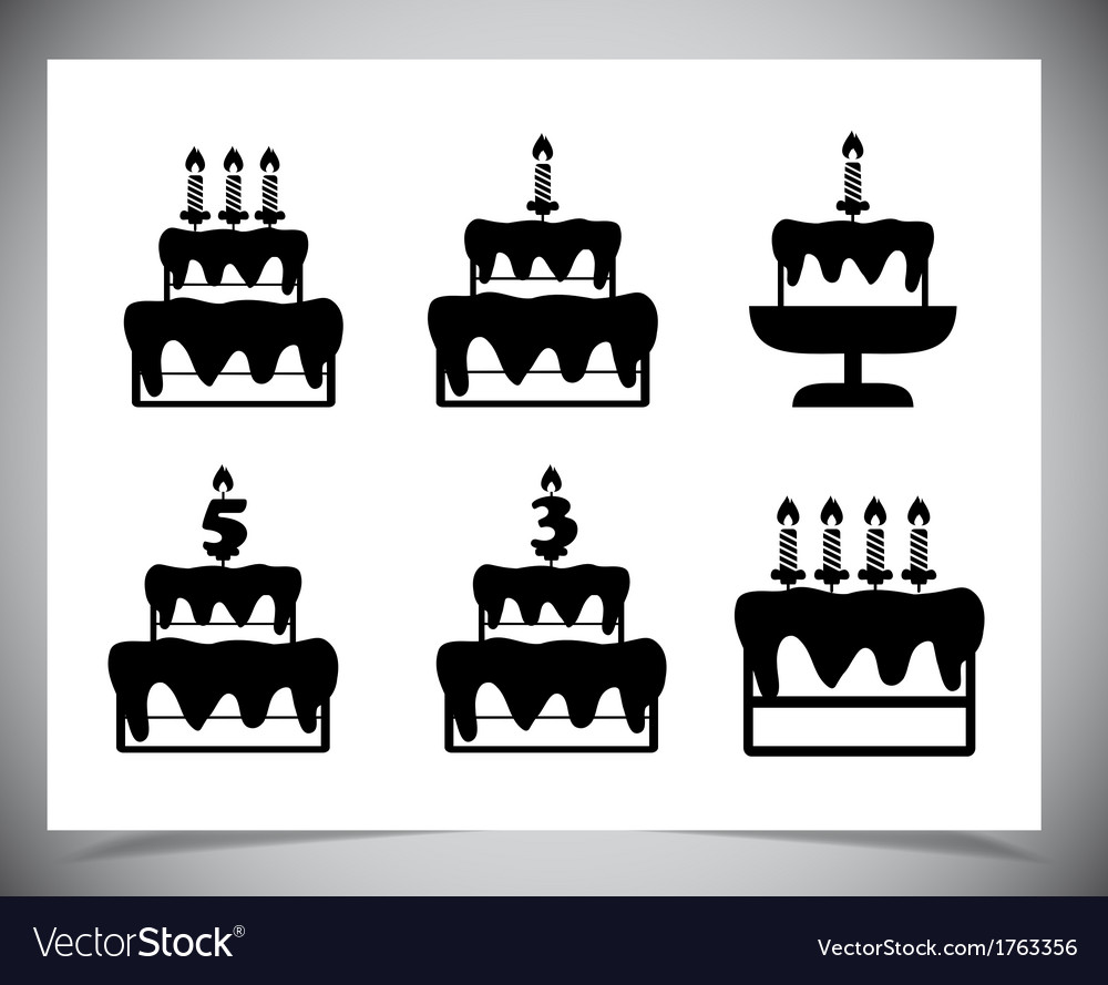 Set of cake icons vector | Price: 1 Credit (USD $1)