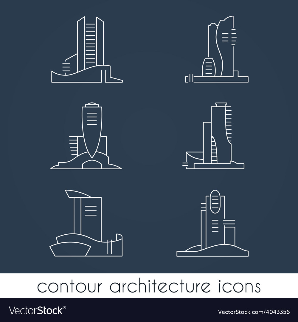 Set of six contour architecture icons vector | Price: 1 Credit (USD $1)