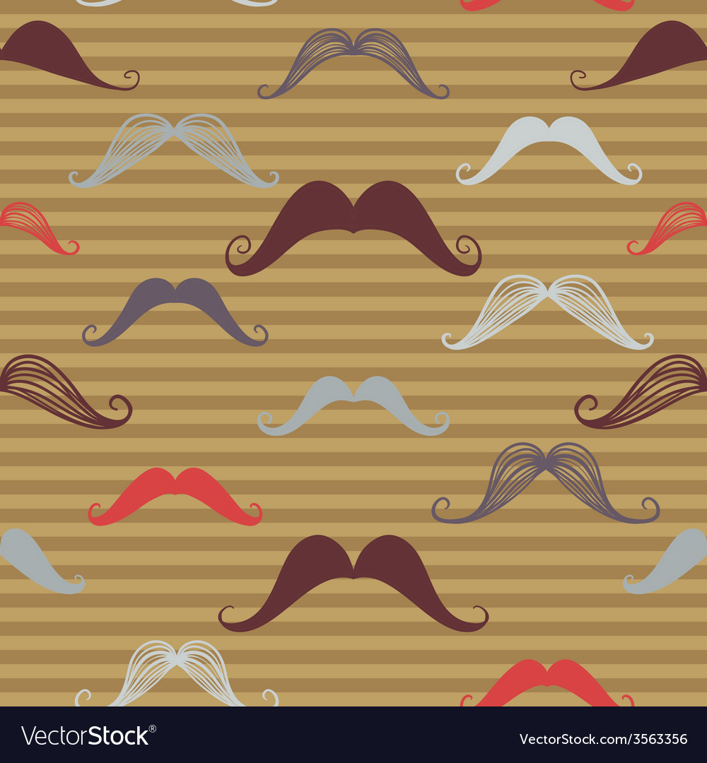 Vintage seamless pattern with mustache retro vector | Price: 1 Credit (USD $1)
