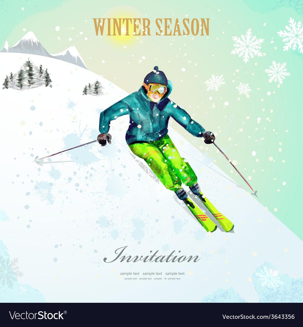 Winter sport girl skiing at ski resort watercolor vector | Price: 1 Credit (USD $1)