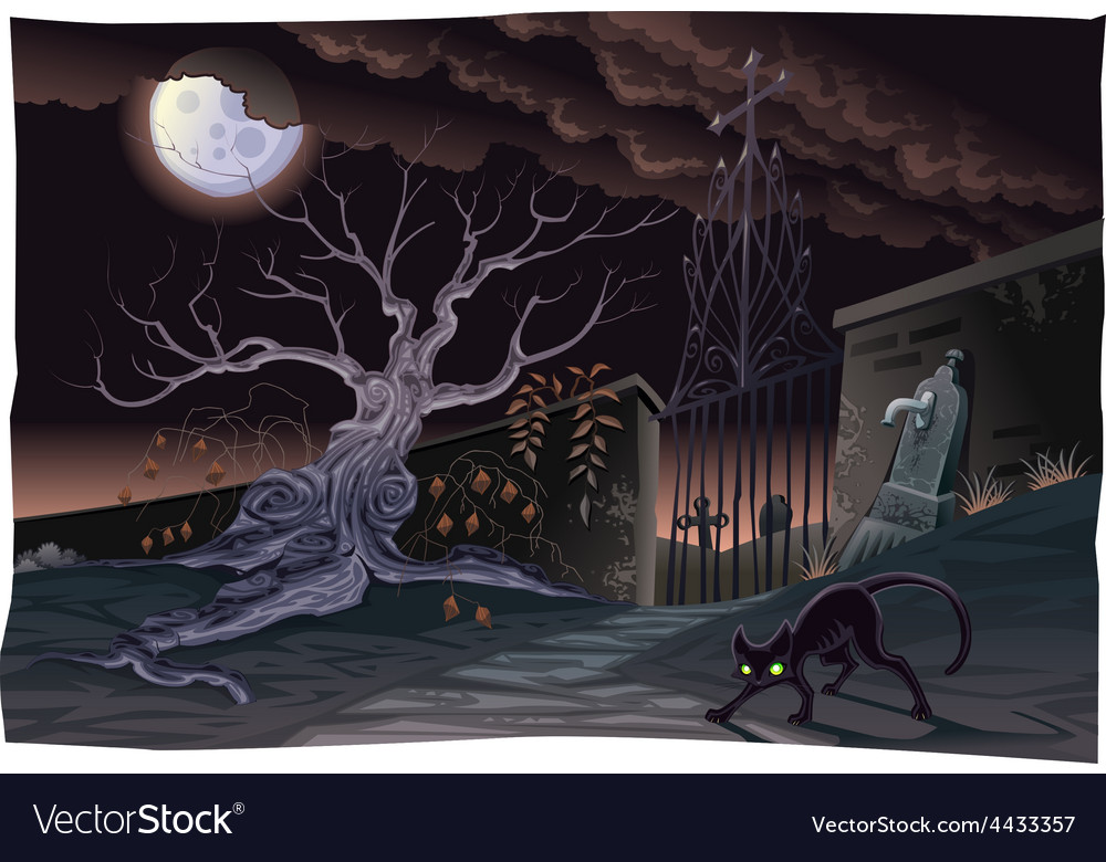 Black cat and cemetery in the night vector | Price: 5 Credit (USD $5)
