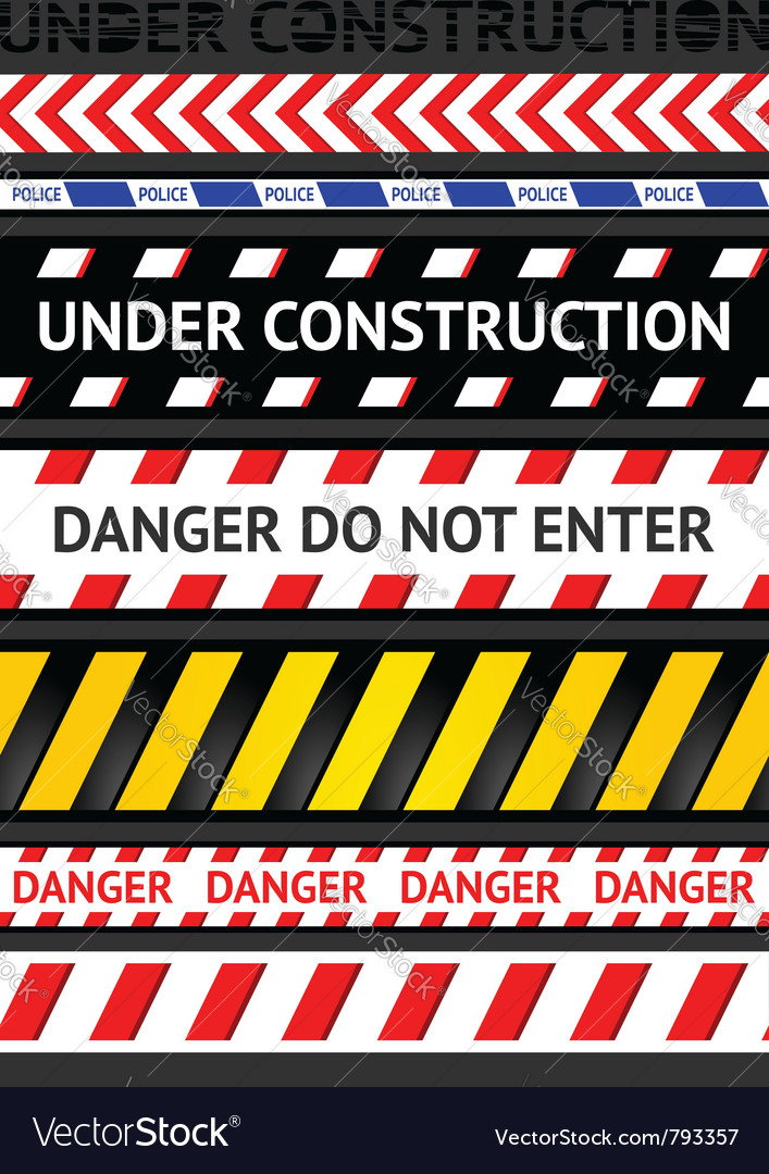 Caution tapes seamless strip warning line vector | Price: 1 Credit (USD $1)