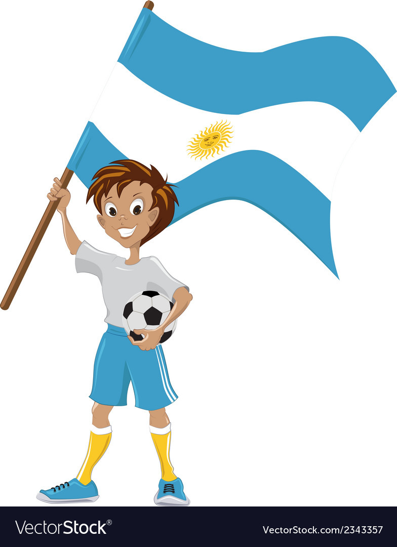 Happy soccer fan holds argentina flag vector | Price: 1 Credit (USD $1)