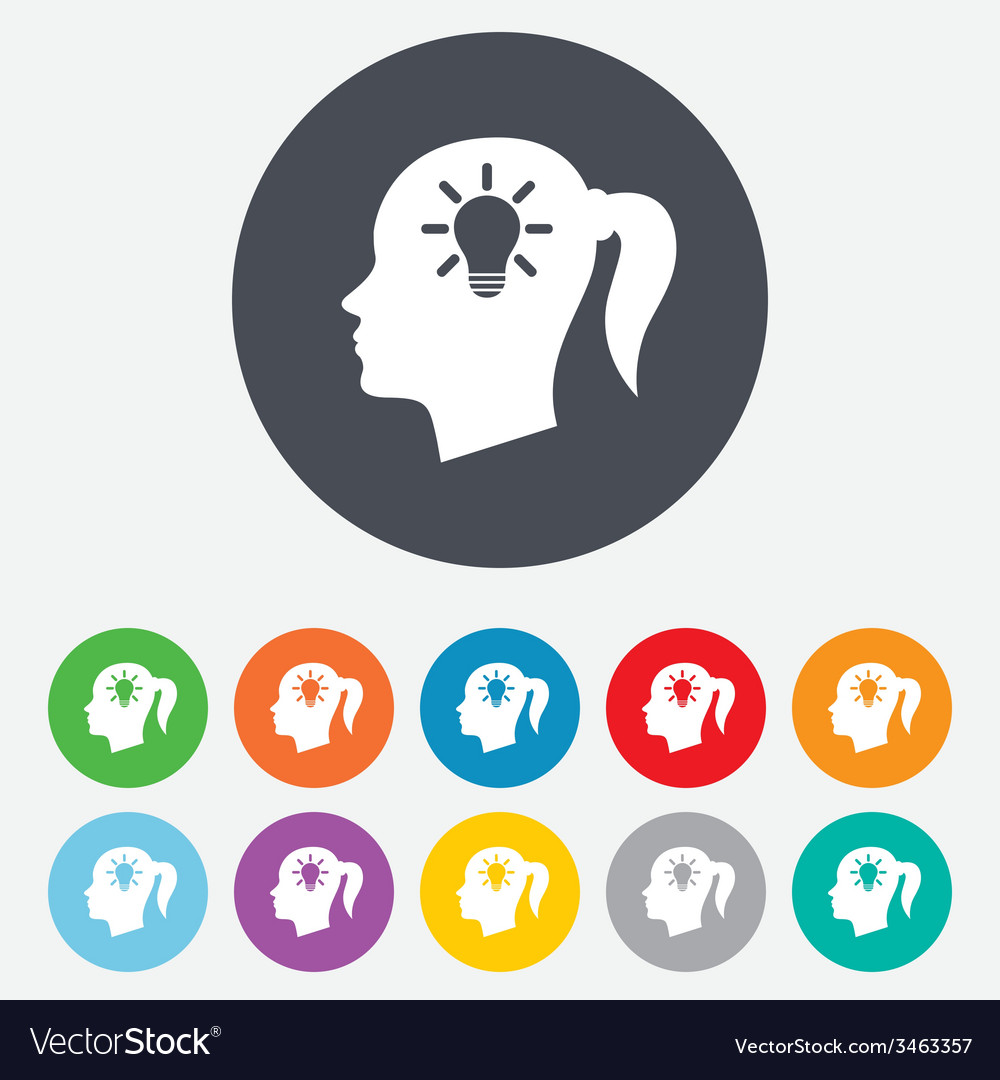 Head with lamp bulb sign icon female woman head vector | Price: 1 Credit (USD $1)