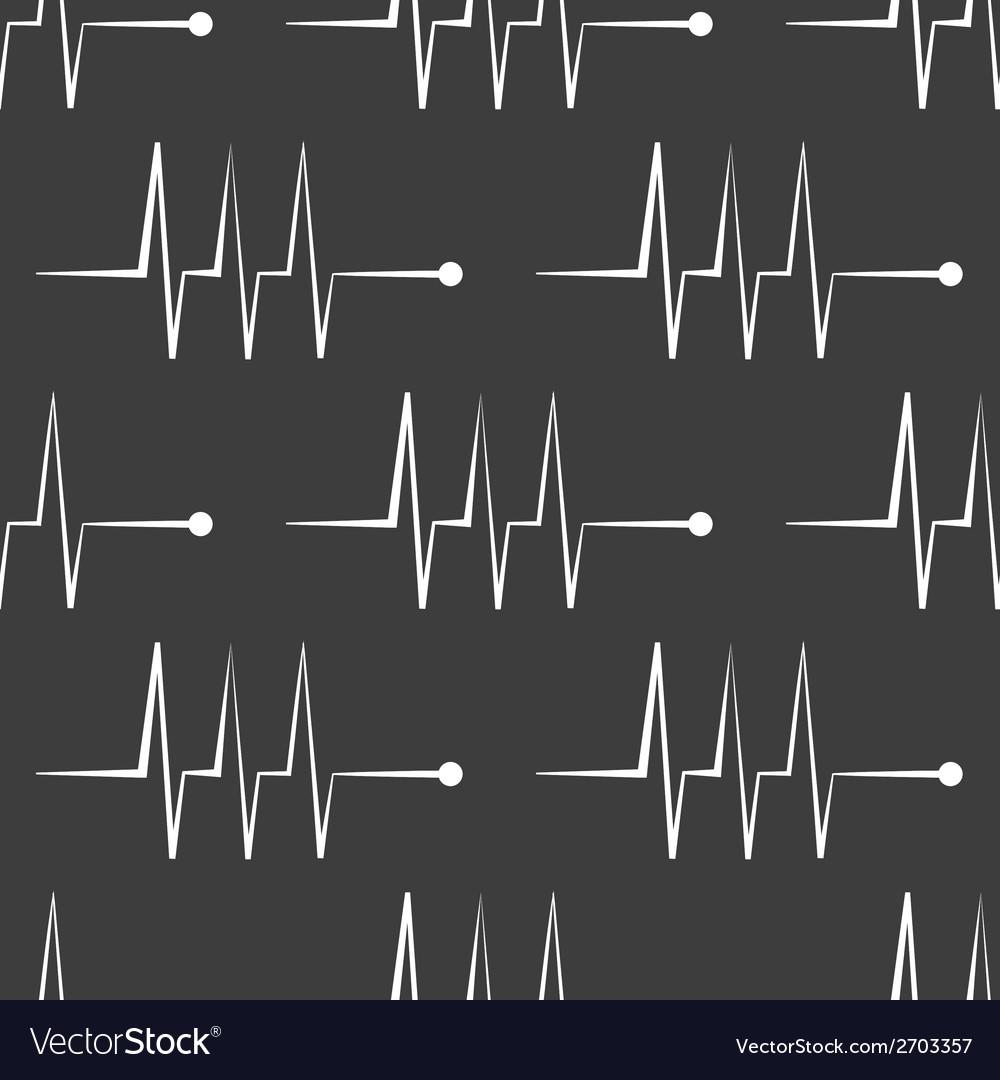 Heart rhythm web icon flat design seamless gray vector | Price: 1 Credit (USD $1)