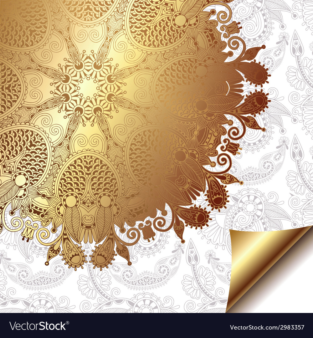 Light floral background with gold ribbon and vector | Price: 1 Credit (USD $1)