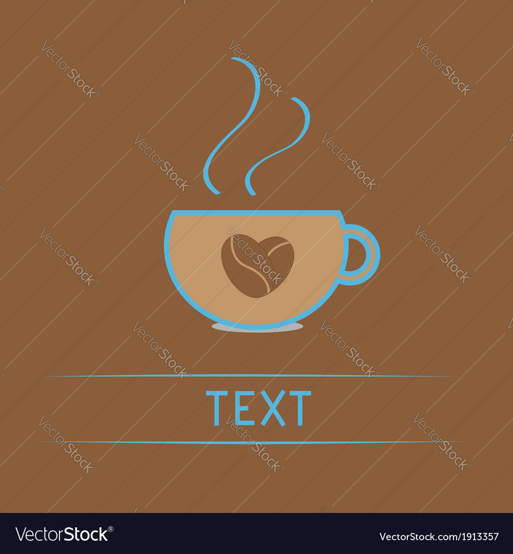 Teacup with coffee seeds heart love card vector | Price: 1 Credit (USD $1)