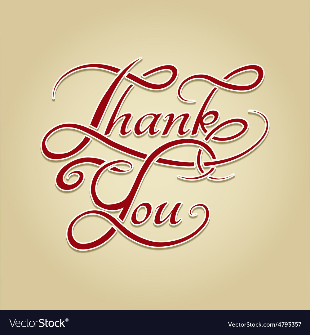Thank you lettering retro calligraphy vector | Price: 1 Credit (USD $1)