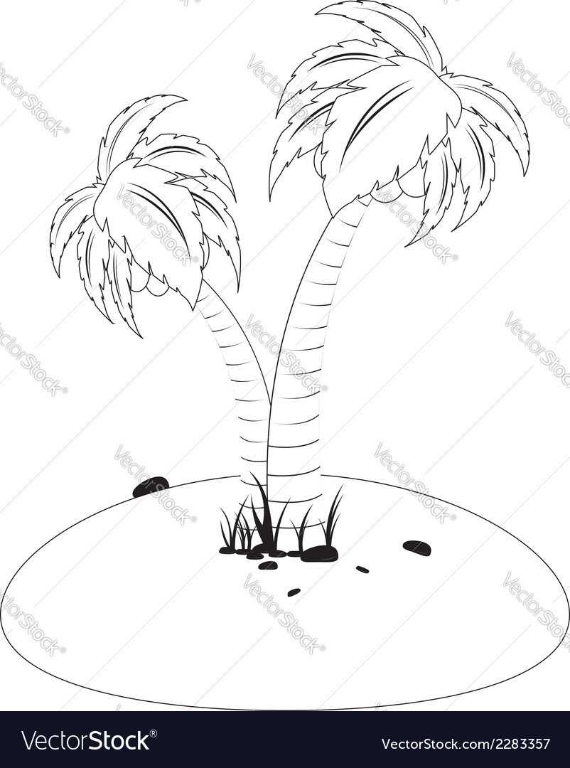 Tropic island in black and white vector | Price: 1 Credit (USD $1)