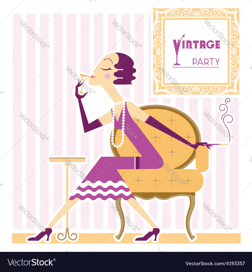 Vintage flapper girl with cigaret vector | Price: 3 Credit (USD $3)
