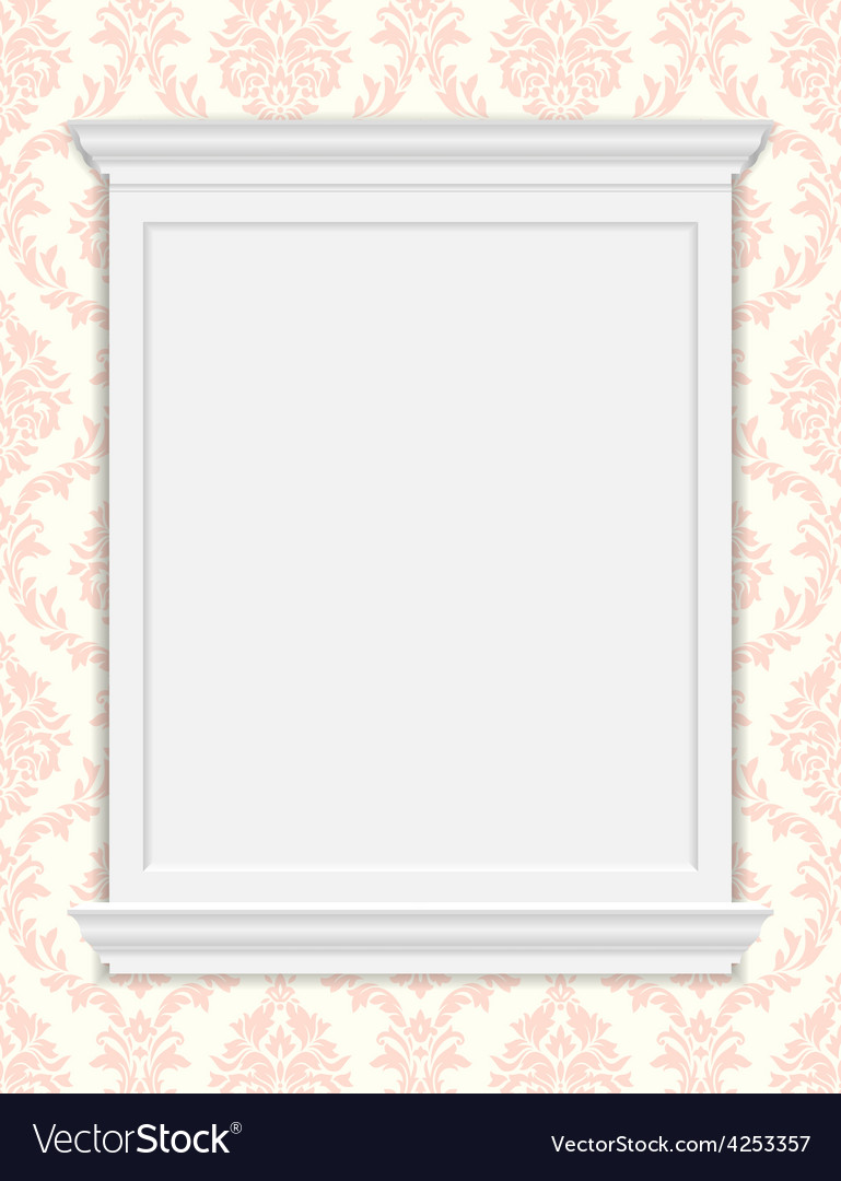 Vintage frame moldings on retro wallpaper vector | Price: 1 Credit (USD $1)