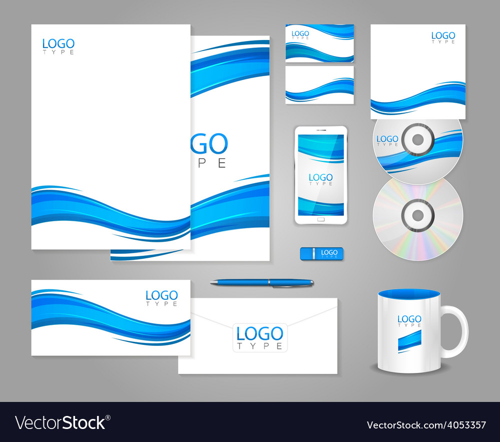 White corporate identity template with blue waves vector | Price: 1 Credit (USD $1)