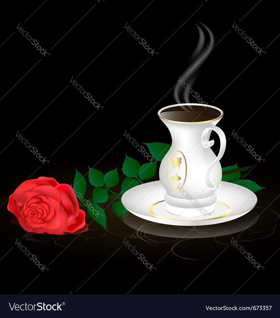 White cup and red rose vector | Price: 1 Credit (USD $1)