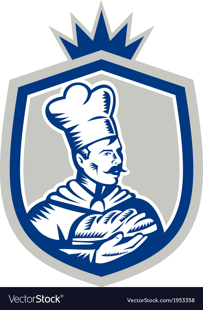 Baker holding bread loaf woodcut crest vector | Price: 1 Credit (USD $1)