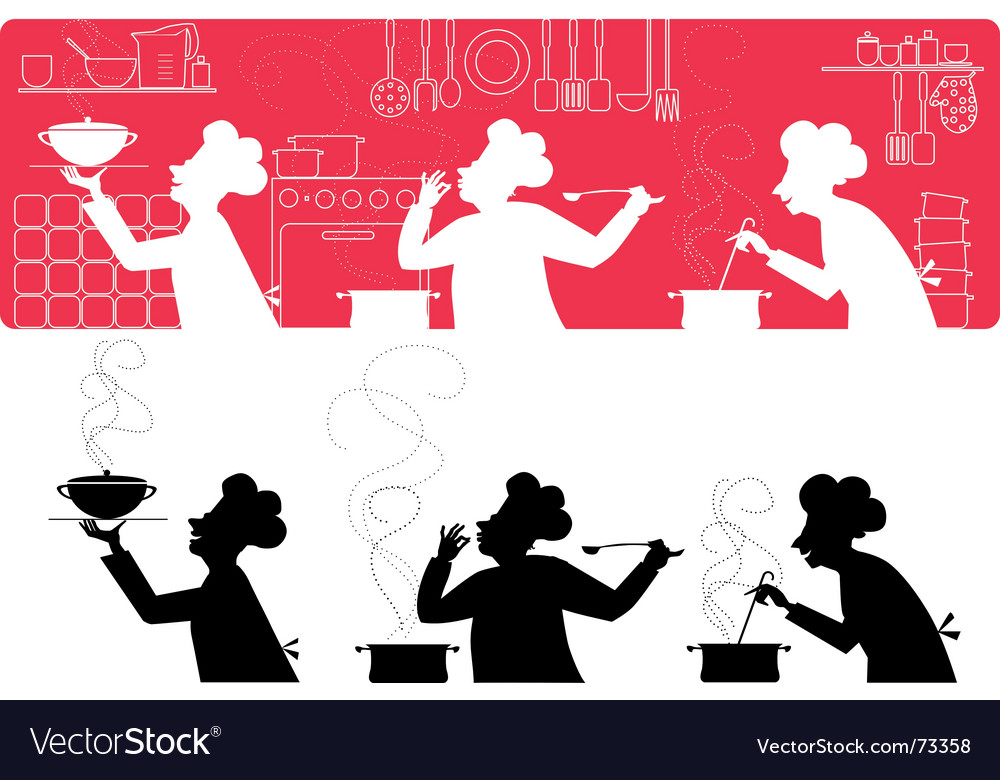 Cooks in the kitchen vector | Price: 1 Credit (USD $1)