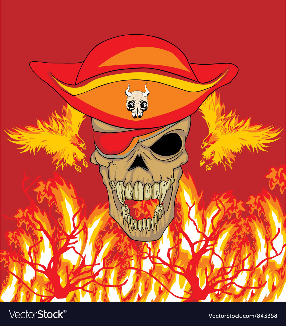 Fire phoenix skull vector | Price: 1 Credit (USD $1)