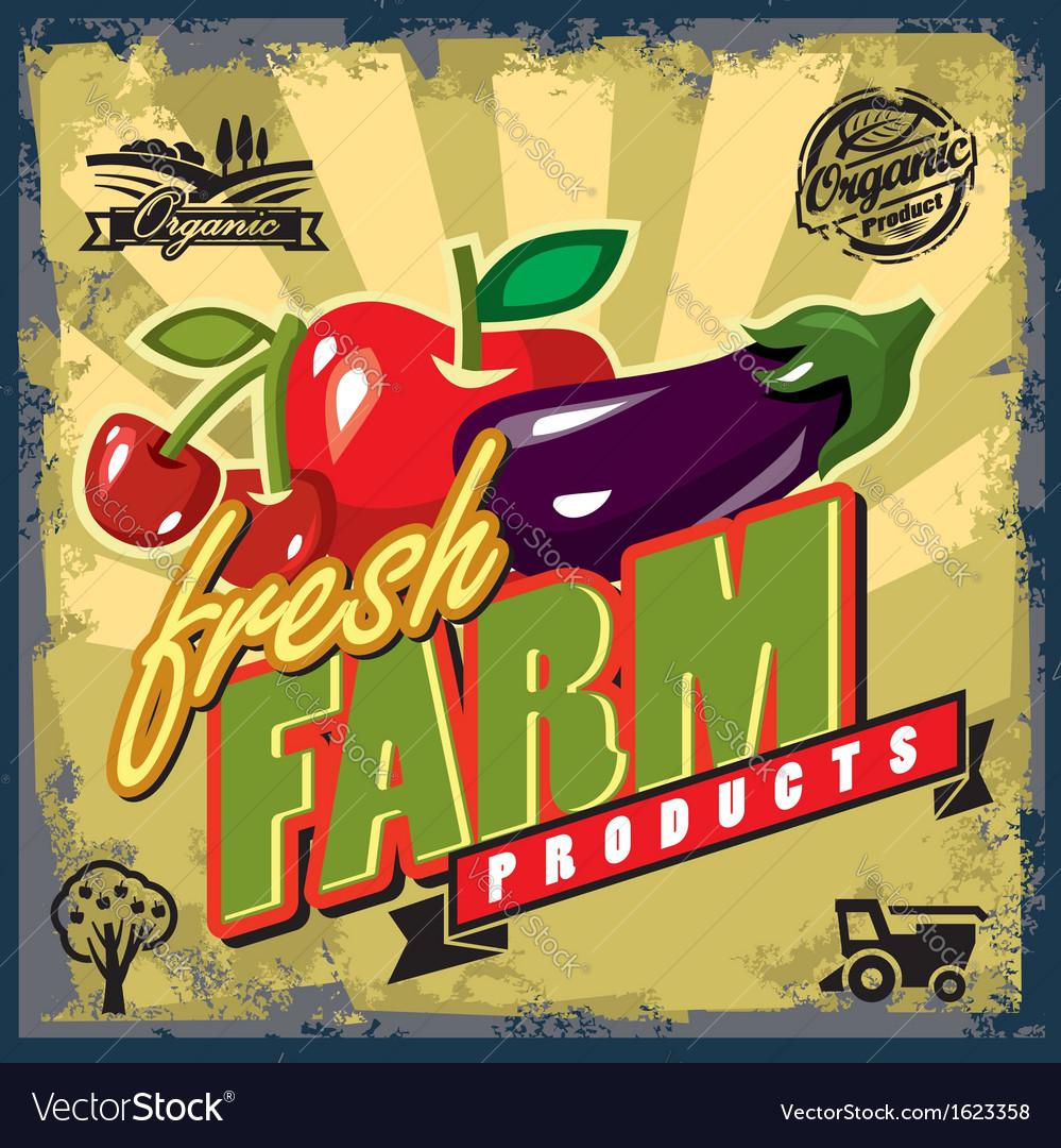 Fresh farm sign vector | Price: 1 Credit (USD $1)