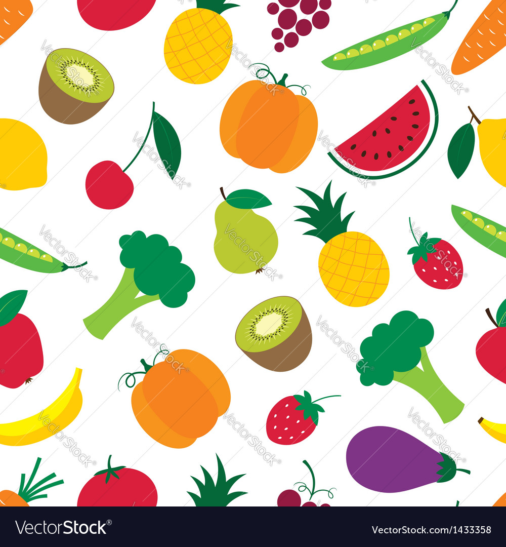 Fruit and vegetables seamless pattern vector | Price: 1 Credit (USD $1)