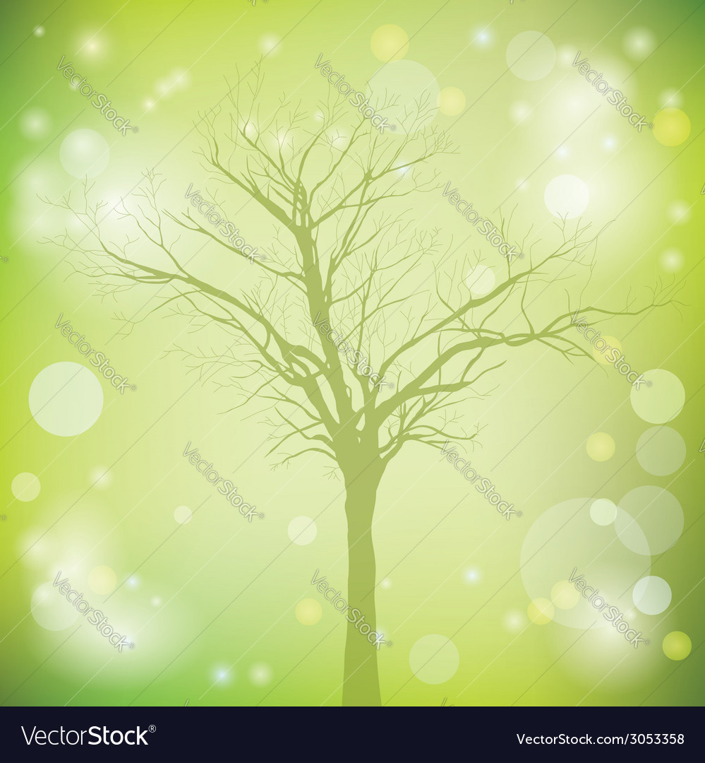 Green background with old tree vector | Price: 1 Credit (USD $1)