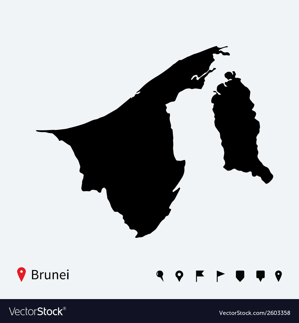 High detailed map of brunei with navigation pins vector | Price: 1 Credit (USD $1)