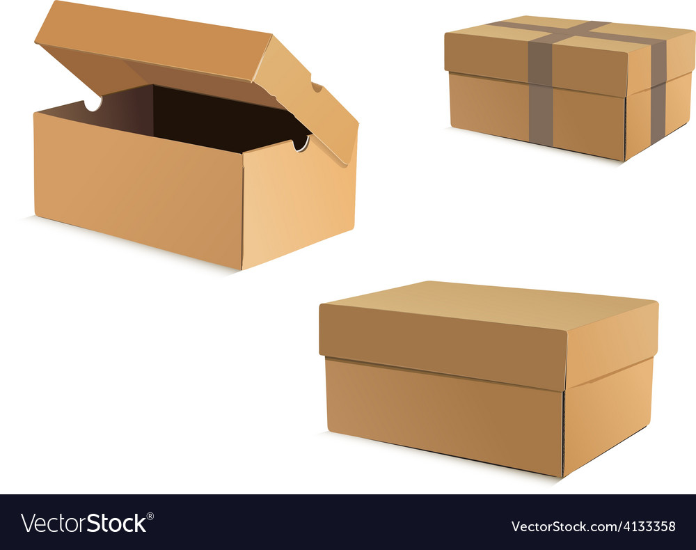 Open and closed cardboard boxes vector | Price: 1 Credit (USD $1)