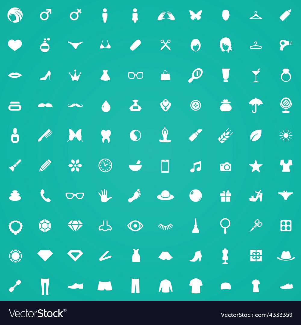 100 beauty glamour icons vector | Price: 1 Credit (USD $1)