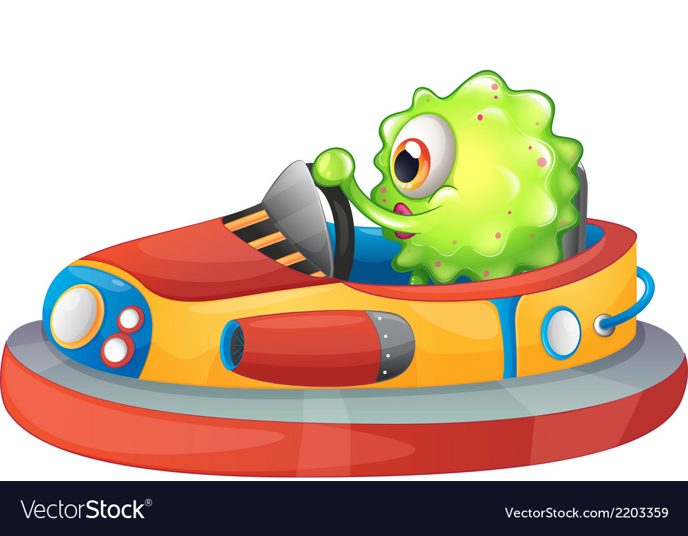A one-eyed monster riding a car vector | Price: 1 Credit (USD $1)