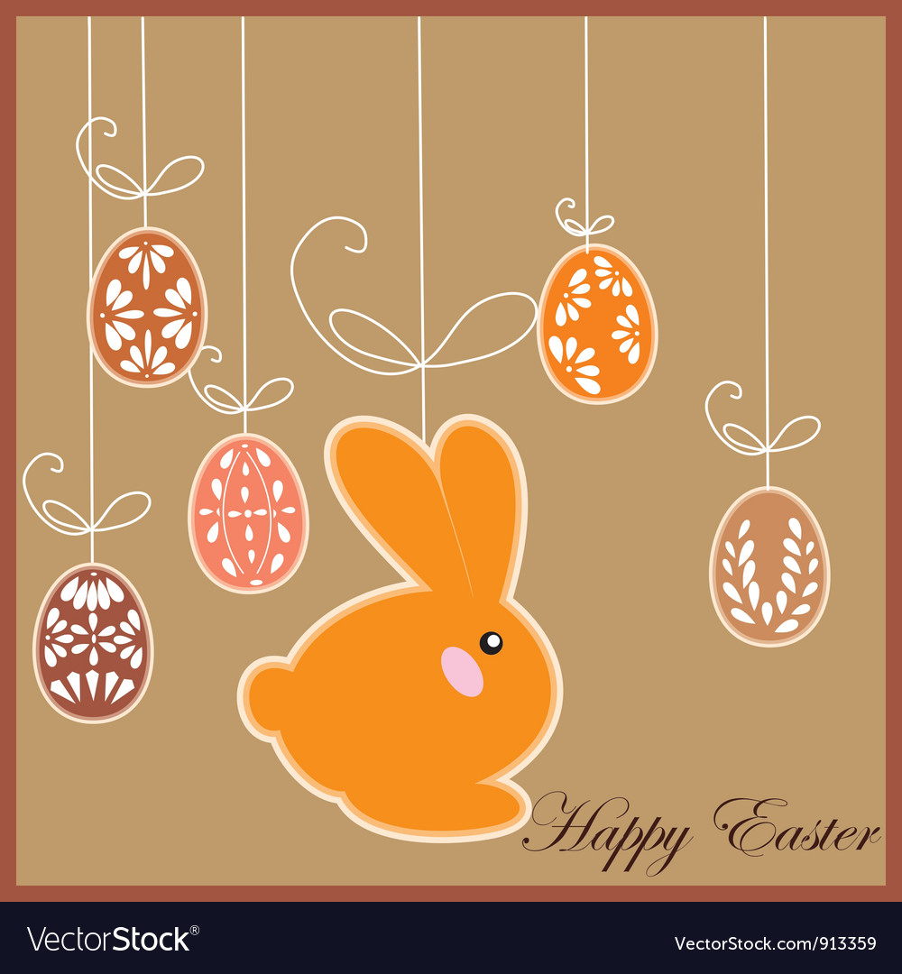 Antique postcard with easter rabbit vector | Price: 1 Credit (USD $1)