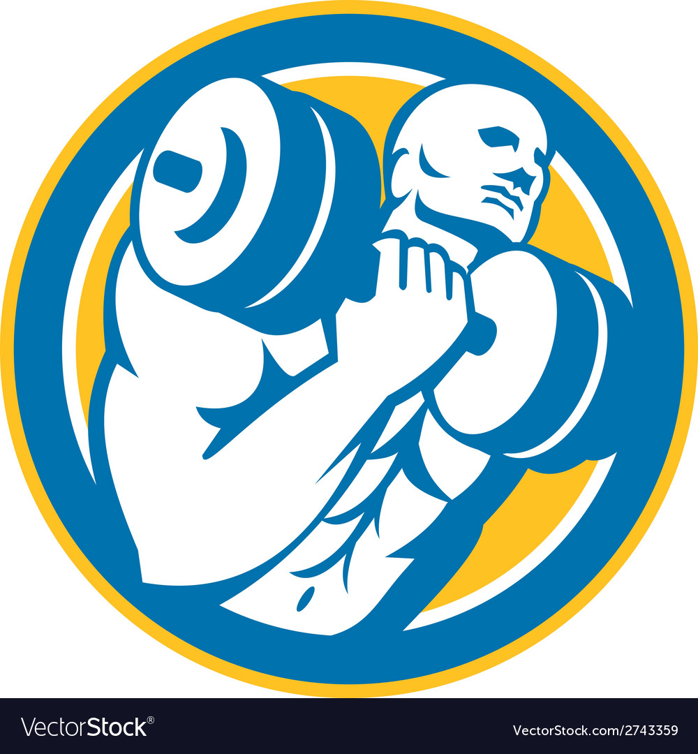 Bodybuilder lifting dumbbell circle retro vector | Price: 1 Credit (USD $1)